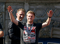 Duesseldorf, Germany, 2. Bundesliga, promotion to 1. Bundesliga of  Fortuna Duesseldorf, team celebrates at Rathausmarkt of Duesseldorf, 14.05.2018<br /> Jean ZIMMER (F95) and Ansgar SCHWENKEN (DFL) -<br />