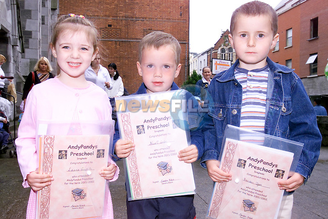 Laura Griffith, Niall gates and Brendan Dyas with there certs from Andy Pandies Playschool..Picture Fran Caffrey Newsfile...This Picture is sent to you by:..Newsfile Ltd.The View, Millmount Abbey, Drogheda, Co Louth, Ireland..Tel: +353419871240.Fax: +353419871260.GSM: +353862500958.ISDN: +353419871010.email: pictures@newsfile.ie.www.newsfile.ie
