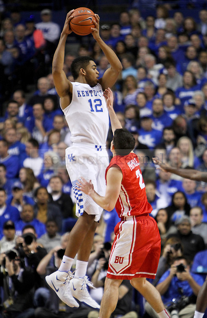 Kentucky forward Karl-Anthony Towns rebounds the ball during the first half of the UK men's basketball game vs. Boston University Rupp Arena in Lexington , Ky., on Friday, November 21, 2014. Photo by Jonathan Krueger | Staff