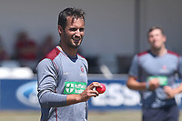Lewis Gregory of Somerset warms up with a pink ball during Essex CCC vs Somerset CCC, Specsavers County Championship Division 1 Cricket at The Cloudfm County Ground on 25th June 2018