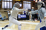 12 February 2017: UNC's Jackie Litynski (left) and Duke's Jennifer Ling (right) during Saber. The Duke University Blue Devils hosted the University of North Carolina Tar Heels at Card Gym in Durham, North Carolina in a 2017 College Women's Fencing match. Duke won the dual match 14-13 overall and 7-2 in Epee. UNC won Foil 6-3 and Saber 5-4.