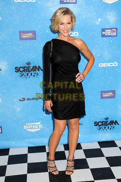JULIE BENZ.Spike TV's Scream 2009 held at the Greek Theatre, Los Angeles, California, USA..October 17th, 2009.full length one shoulder sleeve hand on hip black dress sandals .CAP/ADM/BP.©Byron Purvis/AdMedia/Capital Pictures.