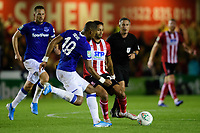 Lincoln City's Bruno Andrade vies for possession with Everton's Djibril Sidibe<br /> <br /> Photographer Chris Vaughan/CameraSport<br /> <br /> The Carabao Cup Second Round - Lincoln City v Everton - Wednesday 28th August 2019 - Sincil Bank - Lincoln<br />  <br /> World Copyright © 2019 CameraSport. All rights reserved. 43 Linden Ave. Countesthorpe. Leicester. England. LE8 5PG - Tel: +44 (0) 116 277 4147 - admin@camerasport.com - www.camerasport.com