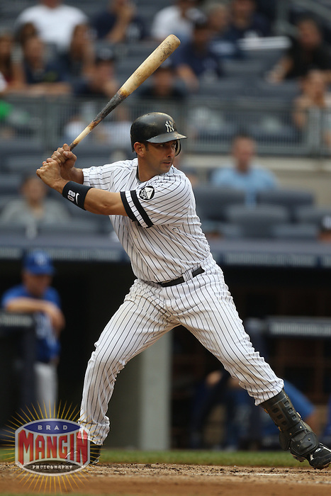 NEW YORK, NY - JULY 25:  Jorge Posada #20 of the New York Yankees bats against the Kansas City Royals during the game at Yankee Stadium on July 25, 2010 at Yankee Stadium in the Bronx borough of New York City. Photo by Brad Mangin