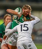 1st February 2019, Energia Park, Dublin, Ireland; Womens Six Nations rugby, Ireland versus England; Megan Williams (Ireland) is tackled by Sarah McKenna and Jess Breach (England)