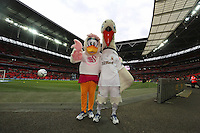 Pictured L-R: Cybil and Cyril the swans, Swansea City's mascots at Wembley Stadium. Sunday 24 February 2013<br /> Re: Capital One Cup football final, Swansea v Bradford at the Wembley Stadium in London.