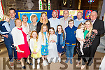 Aoibhe Healy from Tralee pictured after her 1st Holy Communion in St John's Church on Saturday with family, Marie and Leon Healy, Aoife, Tara, Fia, Flo and Sinead Fitzgerald, Helen Healy, Mary Riordan, Cait, Shane, Tomás and Dan Healy with Tommy Parker.