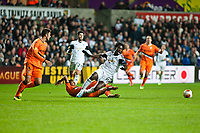 Thursday 28 November  2013  Pictured: Wilfried Bony is brought down <br /> Re:UEFA Europa League, Swansea City FC vs Valencia CF  at the Liberty Staduim Swansea