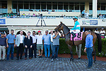 HALLANDALE BEACH, FL-FEBRUARY 10: Elysea's World, ridden by Javier Castellano, after winning the Swannee River Stakes at Gulfstream Park Race Track on February 10, 2018 in Hallandale Beach, Florida. (Photo by Kaz Ishida/Eclipse Sportswire/Getty Images)