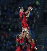 29th September 2017, RDS Arena, Dublin, Ireland; Guinness Pro14 Rugby, Leinster Rugby versus Edinburgh; Jamie Ritchie (Edinburgh) gathers the lineout ball