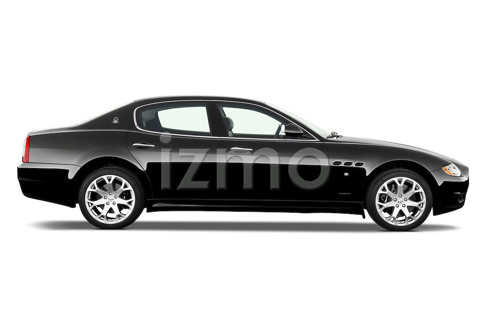 Passenger side profile view of a 2009 Maserati Quattroporte S Sedan.