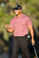 March 29, 2009, Arnold Palmer Invitation.  Tiger Woods reacts to his putt for birdie on the 15th green during final round play  at Bay Hill Golf Club in Orlando, Florida...