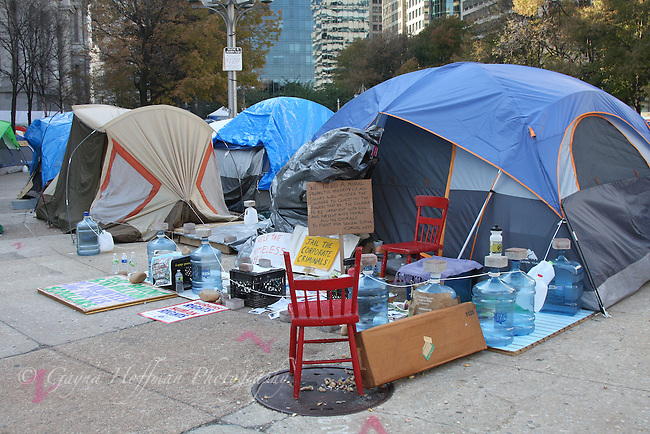 Tents and signs of the 99% Protesters in Philadelphia, PA