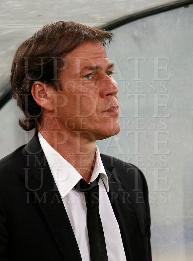 Calcio, amichevole Roma vs Fenerbahce. Roma, stadio Olimpico, 19 agosto 2014.<br /> Roma coach Rudi Garcia, of France, arrives for the team's presentation, prior to the friendly match between AS Roma and Fenerbahce at Rome's Olympic stadium, 19 August 2014.<br /> UPDATE IMAGES PRESS/Isabella Bonotto