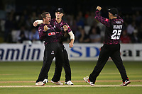 Roelof van der Merwe of Somerset celebrates with his team mates after taking the wicket of Paul Walter during Essex Eagles vs Somerset, Vitality Blast T20 Cricket at The Cloudfm County Ground on 7th August 2019