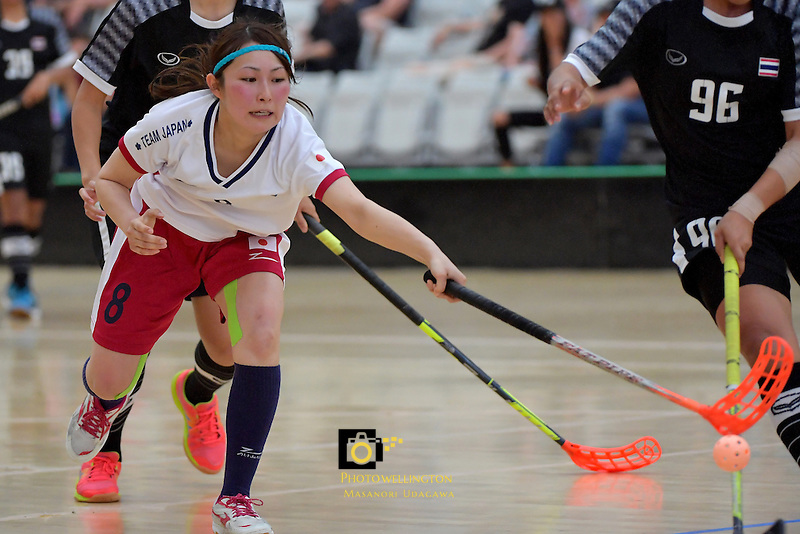 Japan's Shiori Sato in action during the World Floorball Championships 2017 Qualification for Asia Oceania Region - Japan v Thailand at ASB Sports Centre , Wellington, New Zealand on Saturday 4 February 2017.<br /> Photo by Masanori Udagawa<br /> www.photowellington.photoshelter.com.