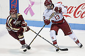 Dana Trivigno (BC - 8), Kalley Armstrong (Harvard - 13) - The Boston College Eagles defeated the Harvard University Crimson 2-1 in the 2013 Beanpot opening round on Tuesday, February 5, 2013, at Matthews Arena in Boston, Massachusetts.