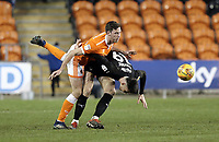 Barnsley's Kieffer Moore is fouled by Blackpool's Ben Heneghan <br /> <br /> Photographer Rich Linley/CameraSport<br /> <br /> The EFL Sky Bet League One - Blackpool v Barnsley - Saturday 22nd December 2018 - Bloomfield Road - Blackpool<br /> <br /> World Copyright &copy; 2018 CameraSport. All rights reserved. 43 Linden Ave. Countesthorpe. Leicester. England. LE8 5PG - Tel: +44 (0) 116 277 4147 - admin@camerasport.com - www.camerasport.com