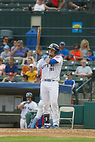 "Myrtle Beach Pelicans catcher Victor Caratini (17) at bat during game one of a doubleheader against the Carolina Mudcats at Ticketreturn.com Field at Pelicans Ballpark on June 6, 2015 in Myrtle Beach, South Carolina. During the game the Pelicans wore special ""Let's Play Two"" uniforms as a tribute to the late Chicago Cubs Hall of Famer Ernie Banks, as they do during the first game of every home doubleheader during 2015. Carolina defeated Myrtle Beach 1-0. (Robert Gurganus/Four Seam Images)"