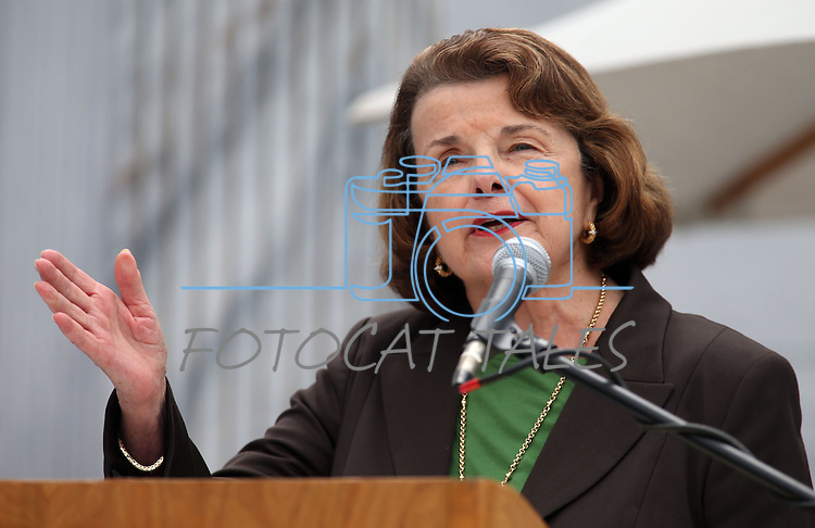 U.S. Sen. Dianne Feinstein, D-Calif. speaks at the 17th annual Lake Tahoe Summit conference at Sand Harbor, near Incline Village, Nev., on Monday, Aug. 19, 2013. <br /> Photo by Cathleen Allison