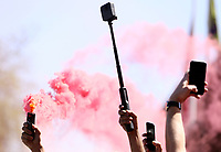 Fans gather with camera phones and flares to greet the Liverpool team coach as it arrives ahead of kick-off at Anfield<br /> <br /> Photographer Rich Linley/CameraSport<br /> <br /> The Premier League - Liverpool v Wolverhampton Wanderers - Sunday 12th May 2019 - Anfield - Liverpool<br /> <br /> World Copyright © 2019 CameraSport. All rights reserved. 43 Linden Ave. Countesthorpe. Leicester. England. LE8 5PG - Tel: +44 (0) 116 277 4147 - admin@camerasport.com - www.camerasport.com