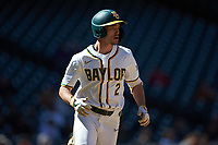 Nick Loftin (2) of the Baylor Bears hustles down the first base line against the Missouri Tigers in game one of the 2020 Shriners Hospitals for Children College Classic at Minute Maid Park on February 28, 2020 in Houston, Texas. The Bears defeated the Tigers 4-2. (Brian Westerholt/Four Seam Images)
