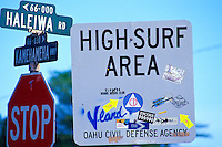 North shore of Oahu surfing signs