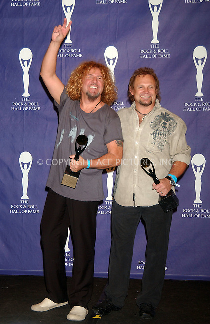 WWW.ACEPIXS.COM . . . . .....March 12 2007, New York City....Honorees MICHAEL ANTHONY AND SAMMY HAGAR of Van Halen in the press room at the 22nd annual Rock And Roll Hall Of Fame Induction Ceremony at the Waldorf Astoria Hotel..  ....Please byline: Kristin Callahan - ACEPIXS.COM..... *** ***..Ace Pictures, Inc:  ..Philip Vaughan (646) 769 0430..e-mail: info@acepixs.com..web: http://www.acepixs.com
