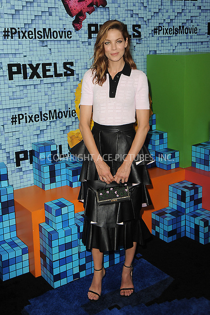 WWW.ACEPIXS.COM<br /> July 18, 2015 New York City<br /> <br /> Michelle Monaghan attending the 'Pixels' Premiere at Regal E-Walk on July 18, 2015 in New York City.<br /> <br /> Please byline: Kristin Callahan/ACE <br /> <br /> <br /> Tel: (646) 769 0430<br /> e-mail: info@acepixs.com<br /> web: http://www.acepixs.com