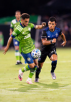 10th July 2020, Orlando, Florida, USA;  San Jose Earthquakes defender Nick Lima (24) During the MLS Is Back Tournament between the Seattle Sounders v San Jose Earthquakes on July 10, 2020 at the ESPN Wide World of Sports, Lake Buena Vista FL.
