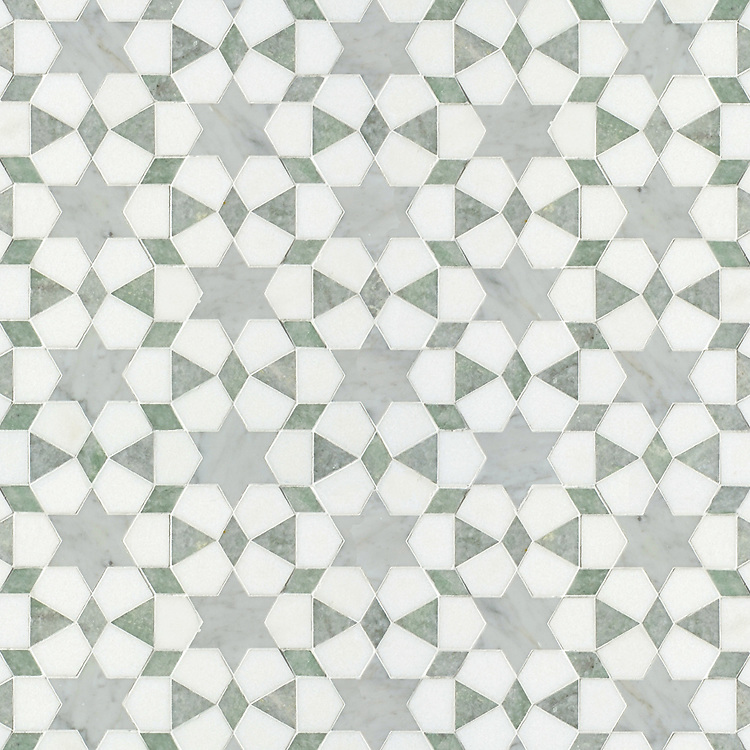 Medina, a waterjet stone mosaic, shown in polished Ming Green and Carrara and honed Thassos, is part of the Miraflores Collection by Paul Schatz for New Ravenna.<br />