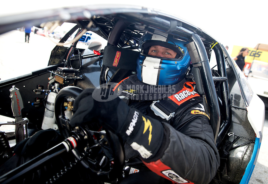 Sept. 1, 2013; Clermont, IN, USA: NHRA pro stock driver John Gaydosh during qualifying for the US Nationals at Lucas Oil Raceway. Mandatory Credit: Mark J. Rebilas-