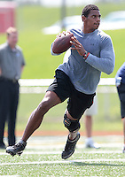 HEMPFIELD TOWNSHIP, PA - AUGUST 20:  Terrelle Pryor works out during his pro day at a practice facility on August 20, 2011 in Hempfield Township, Pennsylvania.  (Photo by Jared Wickerham/Getty Images)