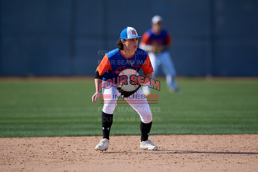 Parrish Jacobi during the Under Armour All-America Pre-Season Tournament, powered by Baseball Factory, on January 19, 2019 at Fitch Park in Mesa, Arizona.  Parrish Jacobi is a second baseman from Greensboro, North Carolina who attends Grimsley High School.  (Mike Janes/Four Seam Images)