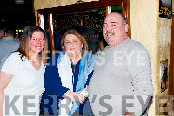 Michelle Carroll, Mary Roche and Paul Cunningham, enjoying the 80's/90's fundraiser disco, at the Abbey Tavern, Ardfert , on Saturday night last.