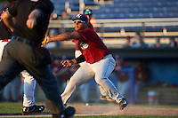 Mahoning Valley Scrappers first baseman Sicnarf Loopstok (26) catches a throw in a rundown to tag out Brad Haynal (obscured) trying to score a run during a game against the Batavia Muckdogs on June 24, 2015 at Dwyer Stadium in Batavia, New York.  Batavia defeated Mahoning Valley 1-0 as three Muckdogs pitchers combined to throw a perfect game.  (Mike Janes/Four Seam Images)