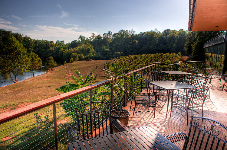 The wood-decked patio outside the tasting room at Glass House Winery provides picturesque views of vineyards and pond nearby.  (HDR image -- Glass House Winery, Free Union VA)