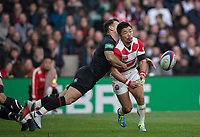 Twickenham, United Kingdom, Saturday, 17th  November 2018, RFU, Rugby, Stadium, England,  Danny CARE launchs him self into the tackle on  Fumiaki TANAKA, during the  Quilter Autumn International, England vs Japan, © Peter Spurrier
