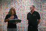 Always Lost: A Meditation on War program manager Amy Roby and Veterans Coordinator Kevin Burns speak at a final reception for the exhibit at Western Nevada College in Carson City, Nev., on Thursday, July 28, 2016.<br />