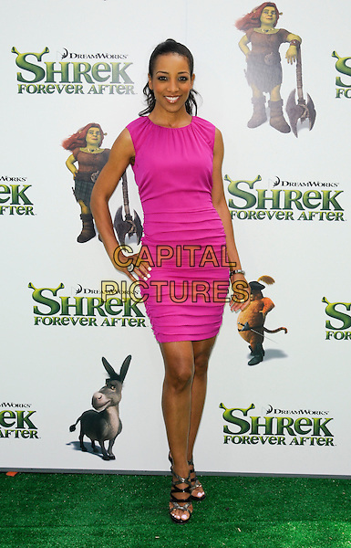 "SHAUN ROBINSON .arriving at the Los Angeles premiere of Dreamworks Animation's ""Shrek Forever After"" at Gibson Amphitheatre in Universal City, California, .May 16th, 2010.full length pink sleeveless dress hand on hip .CAP/ROT.©Lee Roth/Capital Pictures"