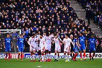 Peterborough players look dejected after Chuks Aneke of Mk Dons celebrates with his team mates after he scores to make it 1-0 during the Sky Bet League 1 match between MK Dons and Peterborough at stadium:mk, Milton Keynes, England on 30 December 2017. Photo by Bradley Collyer / PRiME Media Images.