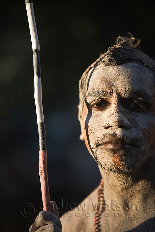 Indigenous dancer from the Lockhart River community at the Laura Aboriginal Dance Festival.  Laura, Queensland, Australia