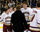 Pat Gannon (BC 13), Matt Greene (BC 14), Brian Gibbons (BC 17), Brock Bradford (BC 19), Andrew Orpik (BC 27), Mike Brennan (BC 4) - The Boston College Eagles defeated the Harvard University Crimson 6-5 in overtime on Monday, February 11, 2008, to win the 2008 Beanpot at the TD Banknorth Garden in Boston, Massachusetts.