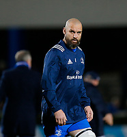 p28th February 2020; RDS Arena, Dublin, Leinster, Ireland; Guinness Pro 14 Rugby, Leinster versus Glasgow; Scott Fardy (c) of Leinster warms up prior to kickoff