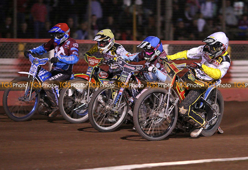 Heat 14: Przemyslaw Pawlicki (white), Robert Mear (blue), Nick Morris (yellow) and Kauko Nieminen (red) - Lakeside Hammers vs Coventry Bees, Elite League Speedway at the Arena Essex Raceway, Purfleet - 06/08/11 - MANDATORY CREDIT: Rob Newell/TGSPHOTO - Self billing applies where appropriate - 0845 094 6026 - contact@tgsphoto.co.uk - NO UNPAID USE.