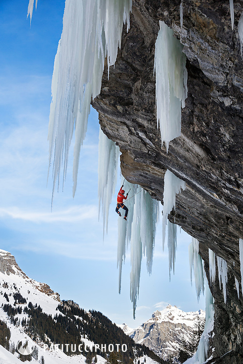 Ueli Steck climbing Pink Panther, M9+, at Ueschenen, above Kandersteg, Switzerland