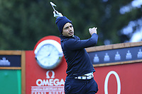 Julian Suri (USA) tees off the 16th tee during Sunday's fog delayed Round 3 of the 2017 Omega European Masters held at Golf Club Crans-Sur-Sierre, Crans Montana, Switzerland. 10th September 2017.<br /> Picture: Eoin Clarke | Golffile<br /> <br /> <br /> All photos usage must carry mandatory copyright credit (&copy; Golffile | Eoin Clarke)