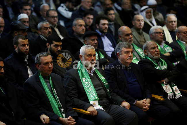 Top Hamas leader Sheikh Ismaeil Haneiya take part in a memorial service for Hamas senior leader Imad al-Alami in Gaza City, 03 February 2018. According to reports, al-Alami was died on 30 January due a shot in the head he reportedly sustained while cleaning his weapon in Gaza.. Photo by Ashraf Amra