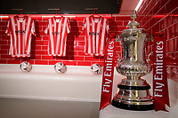 The Emirates FA Cup in the new changing rooms at Lincoln City's Elite Performance Centre<br /> <br /> Photographer Chris Vaughan/CameraSport<br /> <br /> The official opening of Lincoln City's new Elite Performance Centre - Wednesday 7th November 2018 - Scampton, Lincolnshire<br /> <br /> World Copyright © 2018 CameraSport. All rights reserved. 43 Linden Ave. Countesthorpe. Leicester. England. LE8 5PG - Tel: +44 (0) 116 277 4147 - admin@camerasport.com - www.camerasport.com