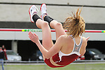 Washington State freshman, Holly Parent, shows excellent form as she clears the high jump bar during the Cougars dual track and field meet with arch-rival Washington at Mooberry Track at Washington State University in Pullman, Washington, on May 1, 2010.